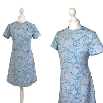 Vintage Paisley Dress | 1970's Fashion | Blue Print Dress | Pale Blue And Grey | A-Line Dress | UK 12