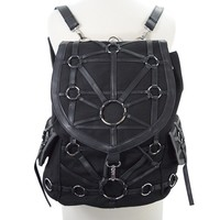 Dark Side Gothic O-rings & Denim Black Harness Design Witchcraft Backpack