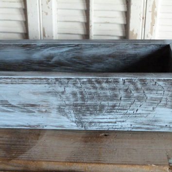 "Rectangular Box, Wedding Centerpiece 30""L box, Baby Blue Cottage Chic Box, Center Piece, Wedding Decor, Wooden Planter Box"
