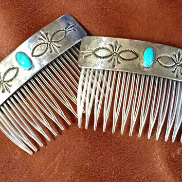 Navajo Hair Combs Turquoise Sterling Silver Comb Set