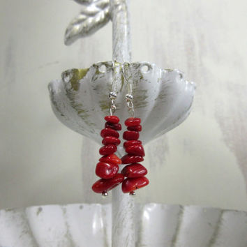 Coral Red Earrings, Bamboo Coral Earrings, Red Chip Bead Earrings,