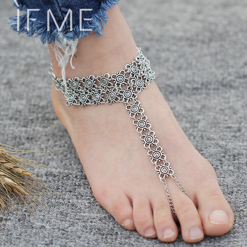 Boho Bohemia Women Punk Alloy Flower Chain Anklet Summer Beach Ankles Toe Bracelet New Fashion Foot Jewelry For Women PD26
