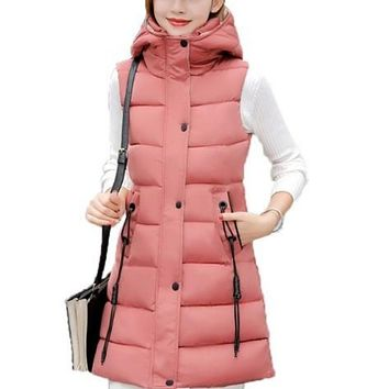 Womens High Collar Hooded Puffer Winter Vest