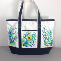Large Tote Bag with Hand Painted Peacock