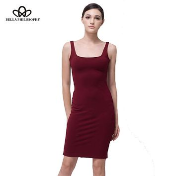 Bella Philosophy 2017 spring summer highly stretchy red blue gray slim tank women dress back split dress women vestidos