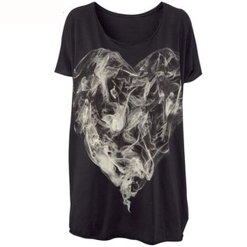 Black Smoke Print Loose T-Shirt