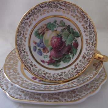 Stanley Fine Bone China tea cup, saucer and plate (vintage trio). Ideal for vintage wedding, tea shop, display or use.