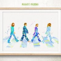 The Beatles - Watercolor, Art Print, Home Wall decor, Kids Gift, The Beatles Wall Art, Beatles Poster