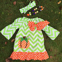 Little Pumpkin Girls Dress, Chevron Girls Dress, Toddler Halloween Dress, Girls Halloween Dress, Toddler Fall Dress, Pumpkin patch outfit