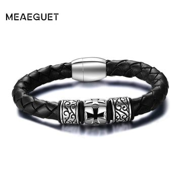 Meaeguet Fashion Vintage Men's Braided Leather Bangles Stainless Steel Wristband Knights Cross Bracelet Pulseira Jewelry