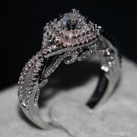 Sterling Silver CZ Wedding Engagement Art Deco Halo Ring (1ct)