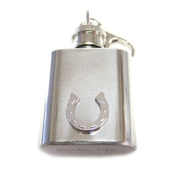 1 Oz. Stainless Steel Key Chain Flask with Horse Shoe Pendant