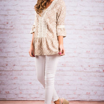 Double Diamonds Blouse, Mocha