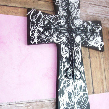 Black and White Large Wall Cross, Christian Wood Wall Art, Large Wall Cross, Christian Decor, Biblical Wall Decor, Wood Cross