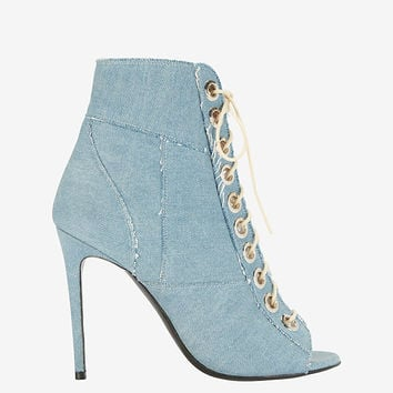 Barbara Bui Lace-Up Denim Patchwork Peeptoe Bootie | Shop IntermixOnline.com