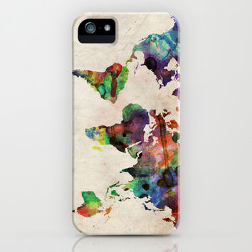 World Map Urban Watercolor iPhone & iPod Case by ArtPause
