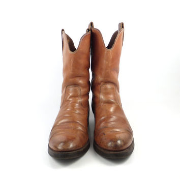 Distressed Brown Boots Leather 1980s Cowboy Roper men's size 10 E