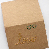 "mustard and green hearts natural eco Blank Notecard (Kraft 4x6) ""love"""