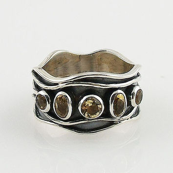 Citrine Sterling Silver Waves Band Ring