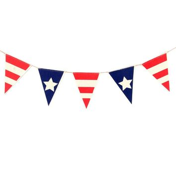 Party Banner Creative American Flag Burlap Banner Bunting Banner for Independence Day Decor