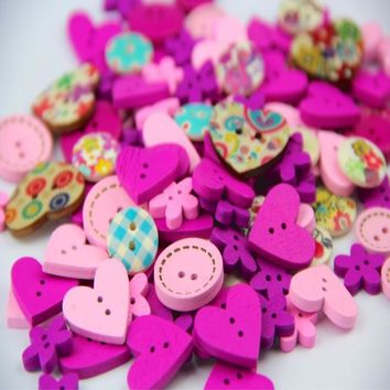 100pcs DIY 15mm Pink Purple Color Mix Shapes Wood Button Sewing Craft 2 Holes Wooden Buttons