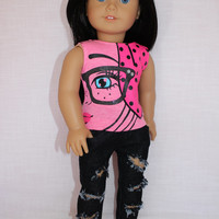 18 inch doll clothes, graphic print Eye t- shirt, dark wash ripped super skinny jeans, american girl ,maplelea