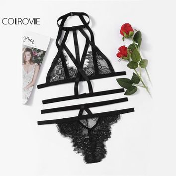 COLROVIE Strappy Lace Lingerie Set Vintage Women Eyelash Sweet Lace Bra Set 2017 Black Bralette Cut Out Slim Hot Lingerie Set