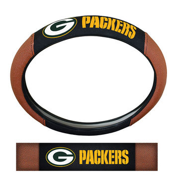 Green Bay Packers Steering Wheel Cover - Premium Pigskin