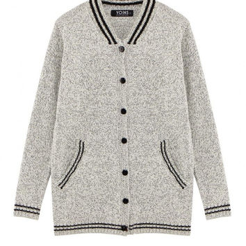Grey Knit Cardigan with Stripe Details