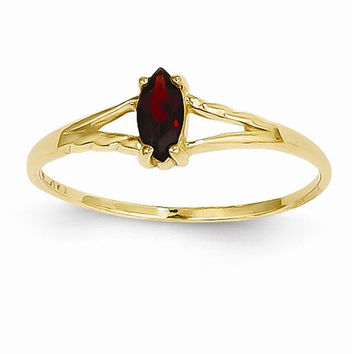 14k Yellow Gold Polished Garnet Birthstone Ring