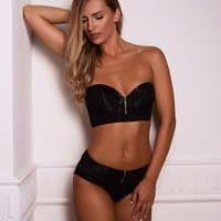 Playboy Bunny Bustier High Waisted Cheeky Boyleg Knicker - Black