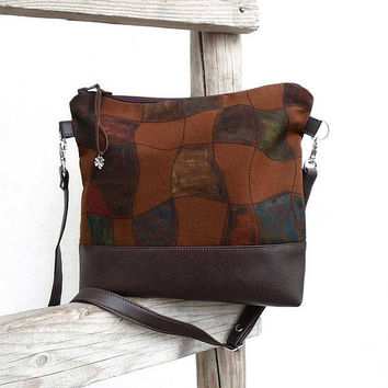 Caramel and chocolate bag, brown bag, canvas crossbody bag, canvas and leather bag, Geometric shoulder bag, hand painted bag, canvas purse