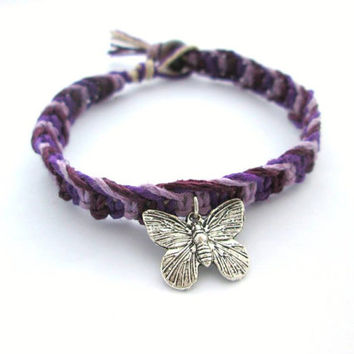 EcoFriendly Butterfly Charm Hemp Bracelet Purple Plum Lavender Womens Macrame Jewelry