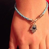 "Baby Blue Hamsa ""Evil Eye"" Bracelet from Hamsa Jewelry"