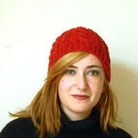 vegan knit beanie, cable stich red beanie, slouchy hat
