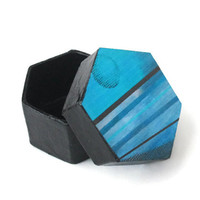 Mini Hexagonal Box in black with decoupaged lid abstract turquoise blue full moon and stripes, trinket box, mini gift box for men