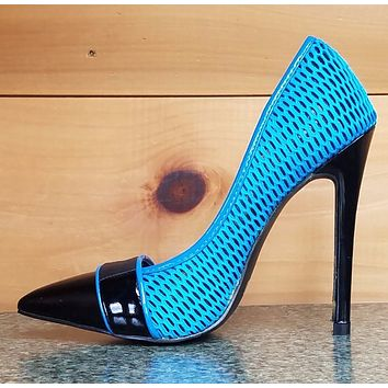 Mesh Madness Pointy Toe Pump Electric Blue High Heel Pump Shoe Sizes 6.5