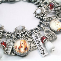 Alice in Wonderland Charm Bracelet, Silver Charm Bracelet, Alice in Wonderland Jewelry