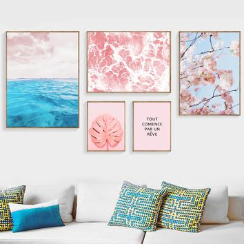 Gohipang Blue Sea Leaves Flowers Canvas Painting Posters And Prints Wall Art Nordic Poster Decoration Pictures For Living Room