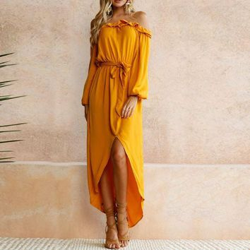 Yellow Off Shoulder Irregular Dress