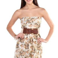 strapless floral printed lace belted high low dress - debshops.com