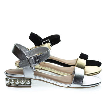 Carisa Silver By City Classified, Low Block Heel Sandal w Pearl Balls In Metallic Heel & Adjustable Strap