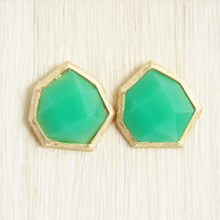 Deep Mint Heptagon Earrings