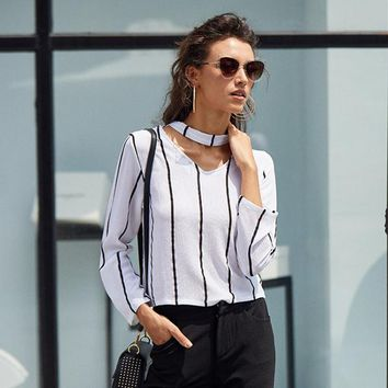 Striped Blouse Women Shirts Blouses Crop Top Long Sleeve Cut Out V Neck choker Office Ladies Blouse
