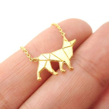 German Shepherd Dog Shaped Silhouette Charm Necklace in Gold | DOTOLY