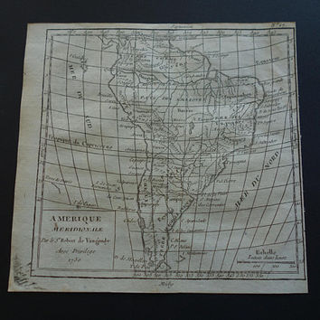 1793 SOUTH AMERICA antique map Original 200+ years old French print about Brazil Amazon SA Continent - small vintage historical maps