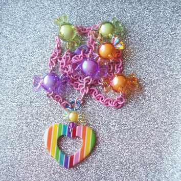 Rainbow Candy Love Charm Necklace