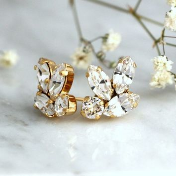 Bridal Earrings, Crystal Clear Earrings, Bridal Cluster Earrings, Bridesmaids Earrings, Gift For Her, Swarovski Crystal Clear Stud Earrings