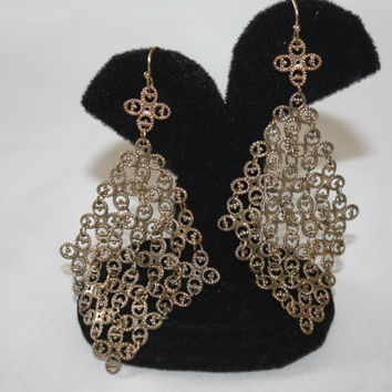 Vintage Filigree Earrings, Drop Dangle , Boho Jewelry, Chain Mail, 1970s Jewellry