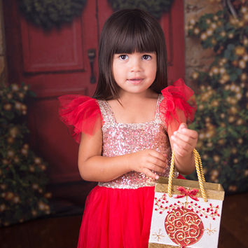 "The ""Lexi"" Sequin Red Gold Sequin Princess Dress - Red"